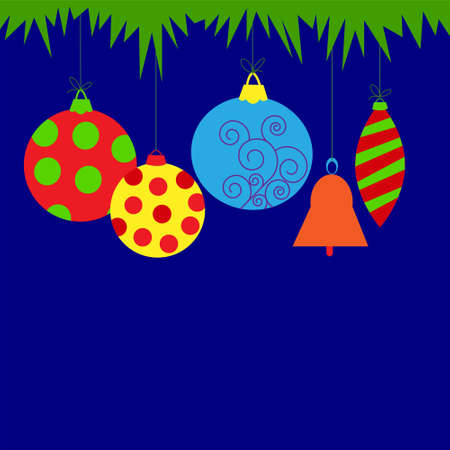 icicle: Christmas card with a balls and bell Illustration