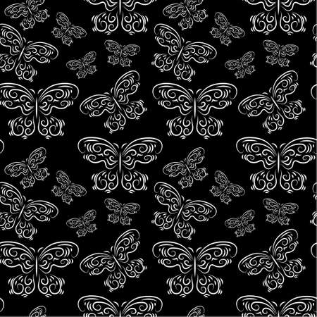 Seamless pattern with a butterflies on a black background