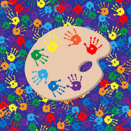 handprints: Seamless background with a palette and handprints Illustration