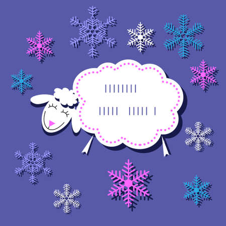 Festive Christmas card with  cute sheep