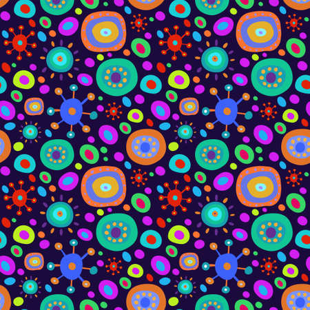 Seamless background with a multi-colored psychedelic pattern Vector