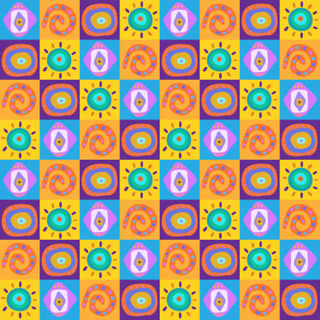 Seamless background with a ethnic ornaments in the boxes