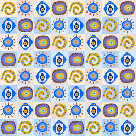 Seamless background with a ethnic patterns in the boxes
