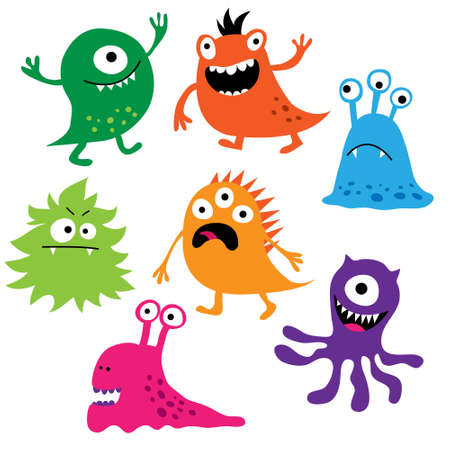Set of a cute colorful monsters Vector