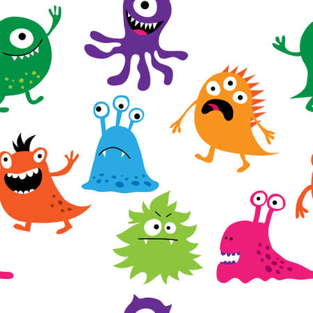 Seamless background with a cute monsters