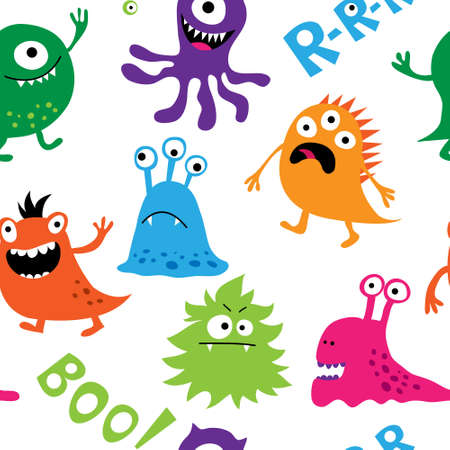 Seamless background with a colorful cute monsters