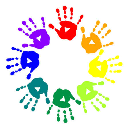 Bright postcard with a colorful handprints Illustration