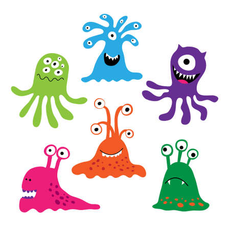 Set with a colorful characters as monsters