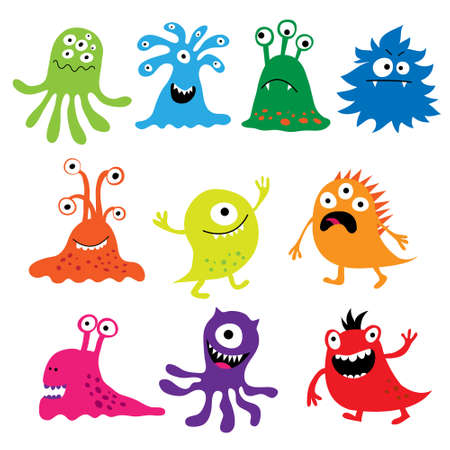 Set with a colorful funny characters monsters