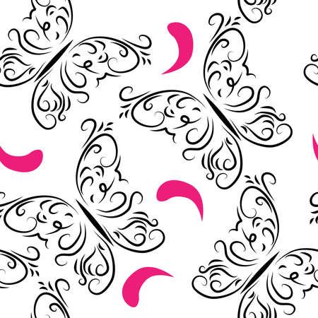Decorative seamless pattern with butterflies and petals Vector