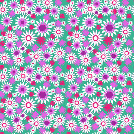 cor: Seamless floral pattern on  green background