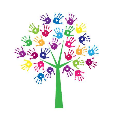 Árbol de impresiones de colores de una palma de la mano Ilustración de vector