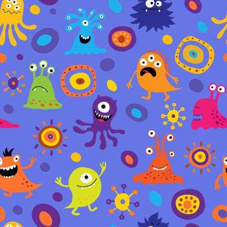 Seamless background with a colorful monsters