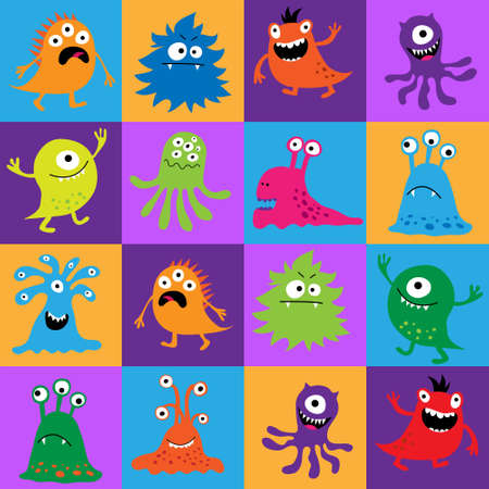 pattern monster: Seamless pattern with colorful monsters in a squares