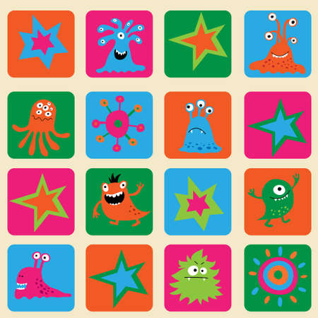 mutation: Seamless pattern with a colorful monsters and stars Illustration
