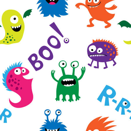 Seamless pattern with a monsters and inscriptions