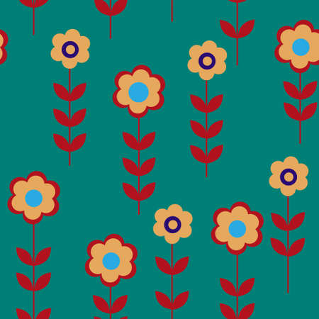 cor: Flower seamless pattern with a daisies Illustration