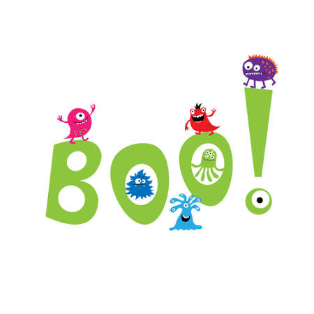 Monsters op de achtergrond van het woord boo