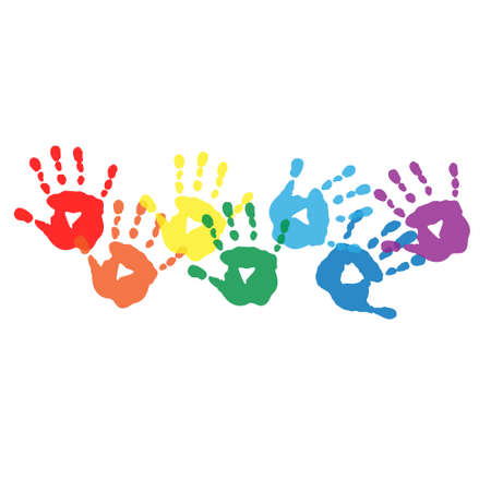 handprints: Abstract background with a rainbow colored handprints Illustration
