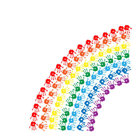 ray trace: Rainbow of a childrens hands prints