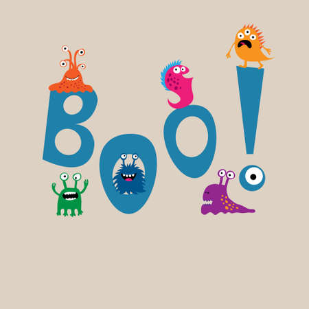 boo: Cute monsters on background of the word boo