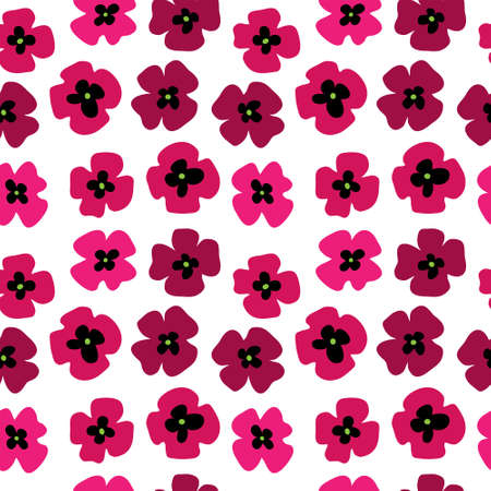 poppies: Seamless pattern with a pink poppies