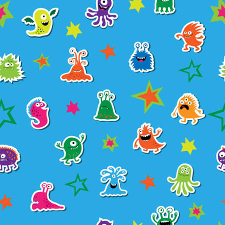 mutation: Seamless template with a cute aliens