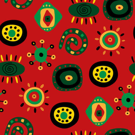 Seamless pattern with a bright fun ethnic pattern Illustration