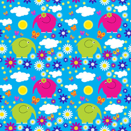 Seamless pattern with colorful elephants on  background of clouds Illustration