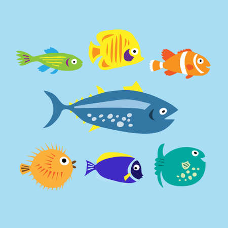 Set of a cute cartoon colored marine fishes