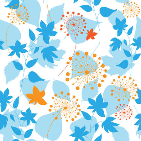 Seamless background with a pretty leaves and dandelions