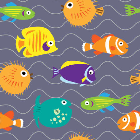 anemonefish: Seamless background with a cute marine fish on the waves Illustration