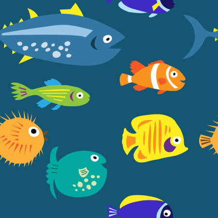 Seamless background with a multi-colored cute marine fish Vectores
