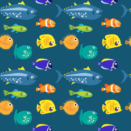 Seamless pattern with a sea fish on a blue background Vectores