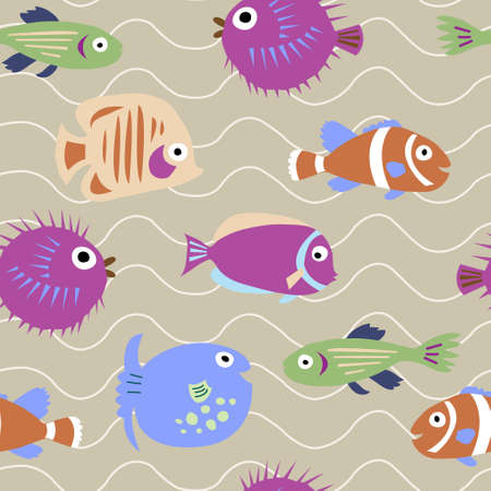 surgeon fish: Seamless pattern with a marine fish with waves Illustration