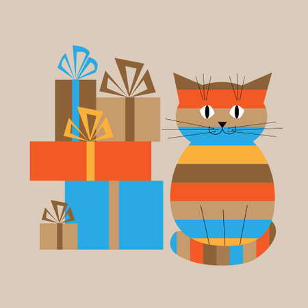 tabby: Greeting card with a tabby cat and gifts