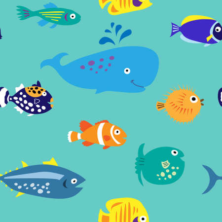 Seamless pattern with a bare marine tropical fish