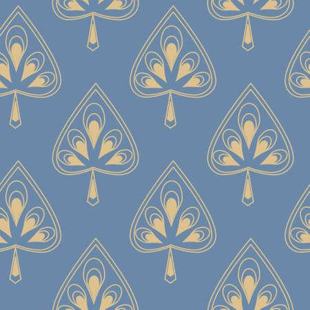 symmetrical: Symmetrical seamless pattern with a decorative stylized leaves Illustration
