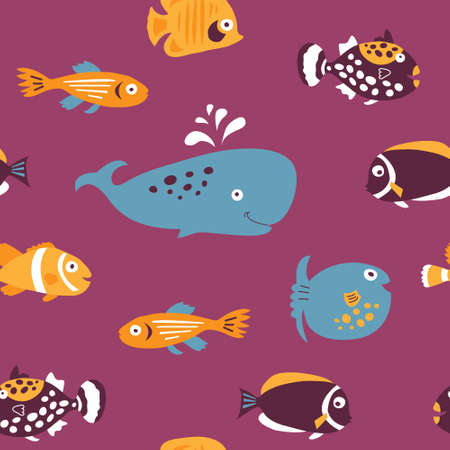 Seamless a template with a cute sea exotic fish