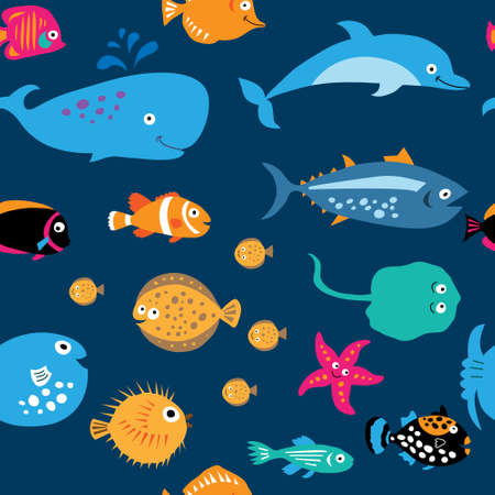 butterflyfish: Seamless pattern with a cute sea exotic fish Illustration