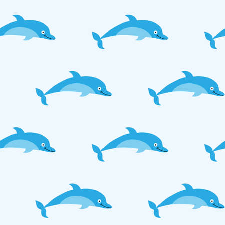 kiddish: Seamless pattern with a pretty good dolphins Illustration