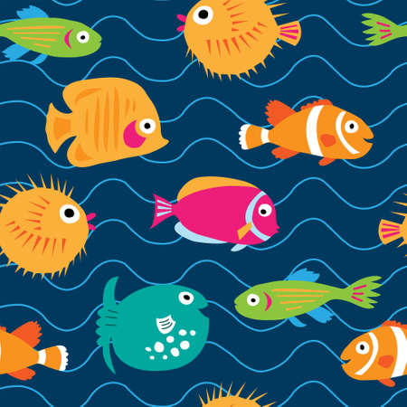 anemonefish: Seamless pattern with a exotic fish on the waves Illustration