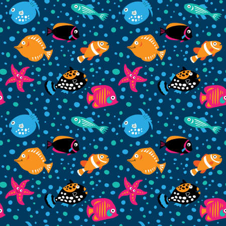 Seamless template with the characters of a marine life