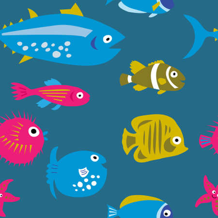 Seamless template with a decorative beautiful fish