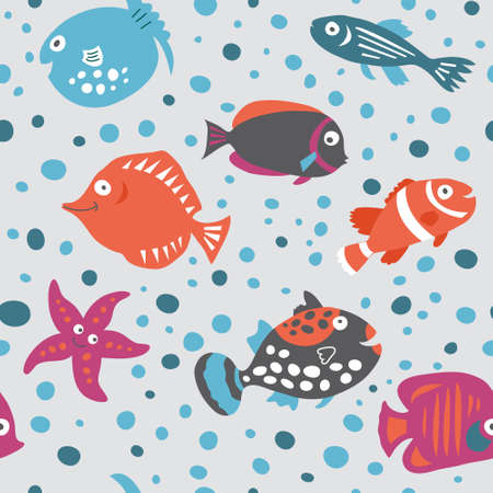 butterflyfish: Seamless pattern on the marine theme in the childrens style Illustration