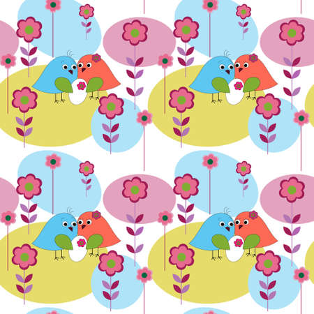 marvelous: Seamless pattern with a birds marvelous family Illustration