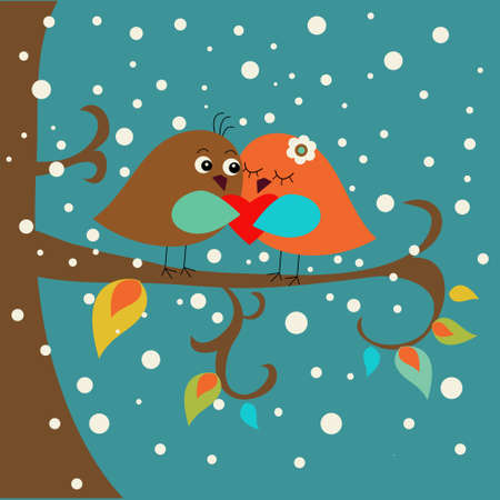 ca: Holiday card with ca ute birds in love Illustration