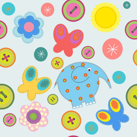 Cute seamless pattern with flowers and butterflies and elephant