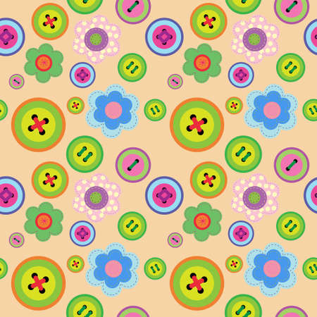 Cute seamless floral pattern with a flowers and buttons