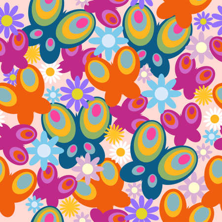 Stylish seamless pattern of a butterflies and flowers